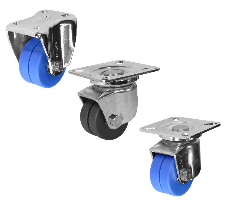 ステンレス低床重荷重用双輪キャスタ