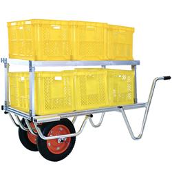 農業・園芸用運搬台車 (アルミロング・アルミコンテナ・アルミ脚立)2段タイプ