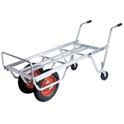 農業・園芸用運搬台車 (アルミロング・アルミコンテナ・アルミ脚立)補助輪付