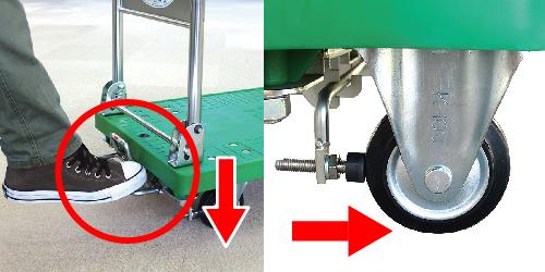 ストッパー付運搬台車(プラスチック製)外側のレバーを踏んでロック