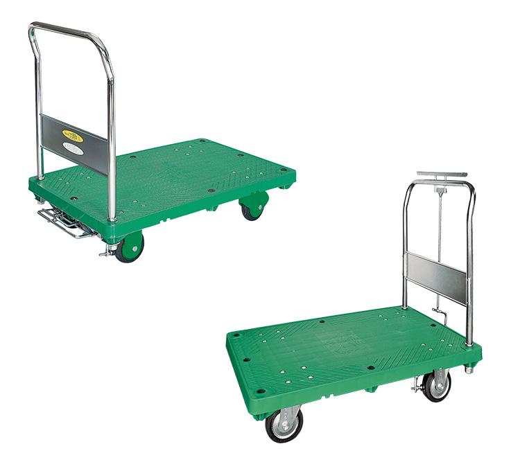 ストッパー付運搬台車(プラスチック製)