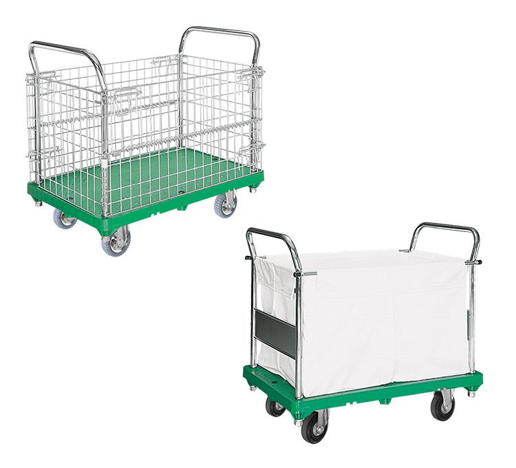 アミかご付・キャンバスかご付運搬台車(プラスチック製)
