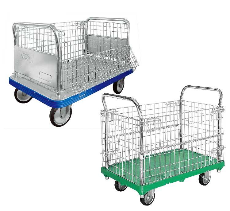 アミかご付・キャンバスかご付運搬台車(プラスチック製・スチール製ビッグボディ)