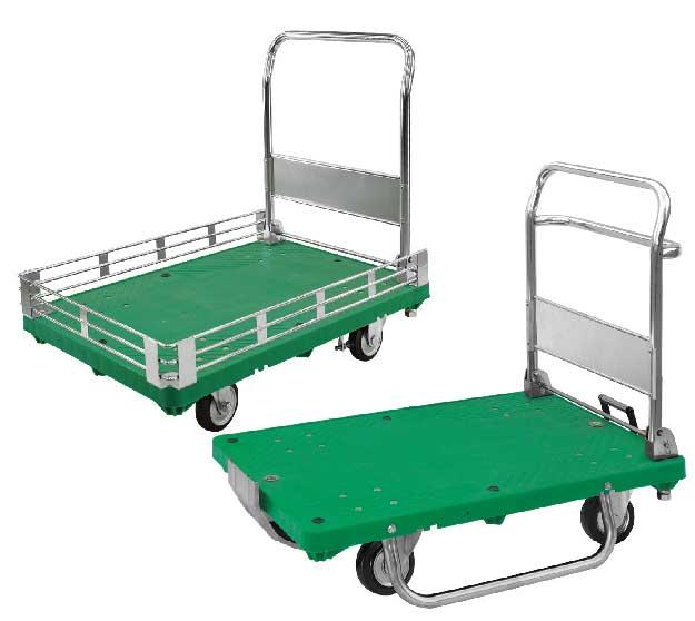三面ガード付き・ソリ付運搬台車(プラスチック低ノイズ製)