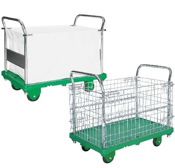 アミかご付・キャンバスかご付運搬台車(プラスチック低ノイズ製)