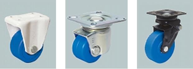 低床重荷重用キャスタ/固定/MC車輪付・低床重荷重用双輪キャスタ/自在/MC車輪付・緩衝キャスタセンタースプリングタイプ/自在/MC車輪付